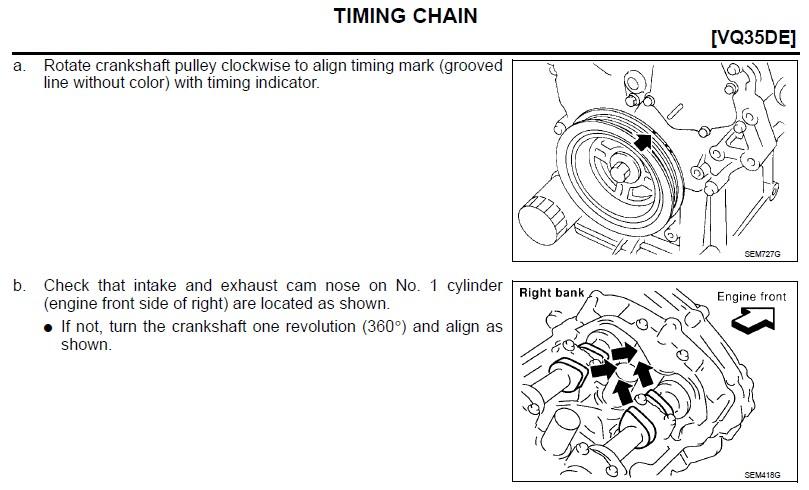 nissan 3.5 engine timing marks